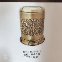精美不锈钢纹理镀铜垃圾桶