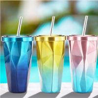 不规则双层304不锈钢吸管杯水杯子冰杯咖啡杯冰霸杯礼品定制刻字