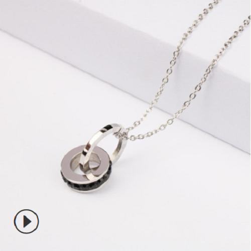 不锈钢电镀钛钢饰品锁骨链女时尚项饰镶钻罗马数字吊坠双环项链