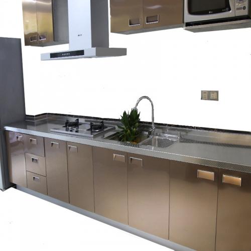 定制 不锈钢橱柜整体定制304台面厨房柜门现代简约灶台柜家用厨柜定做