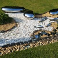 定制 不锈钢镜面石头亮光鹅卵石雕塑碧桂园项目装饰品水池石头鹅蛋摆件