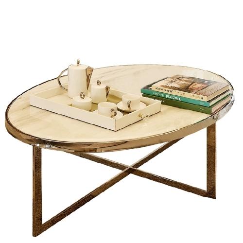 定制 后现代大理石台面茶几简约现代椭圆形客厅金属不锈钢轻奢家具定制
