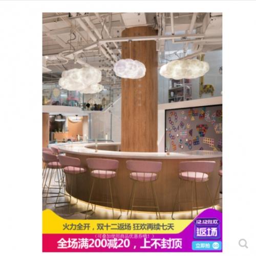 云朵灯创意个性吊灯服装店儿童房酒店工程棉花白云云彩装饰蚕丝灯